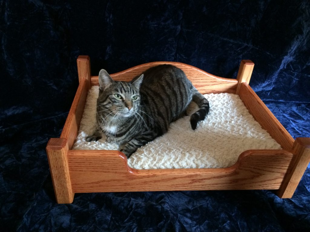 A black and gray tabby laying on a wooden cat bed.